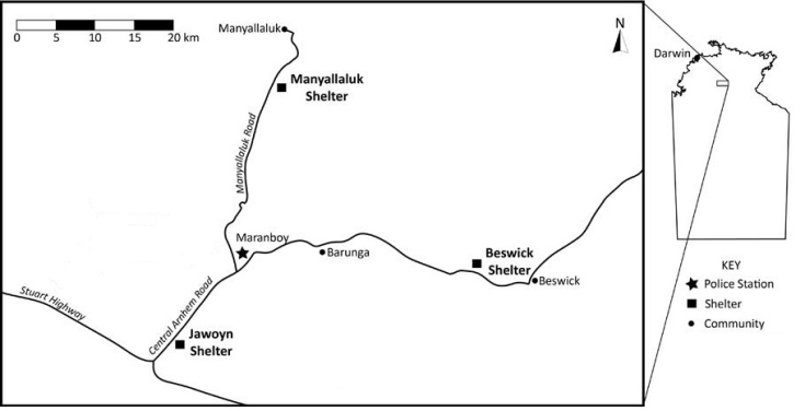 Jawoyn Country, featuring the three largest communities: Barunga, Beswick and Manyallaluk. The map also shows the location of past and present shelters where the consumption of liquor is legal.
